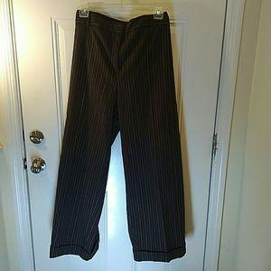 Wide leg brown pinstripe cuffed trousers